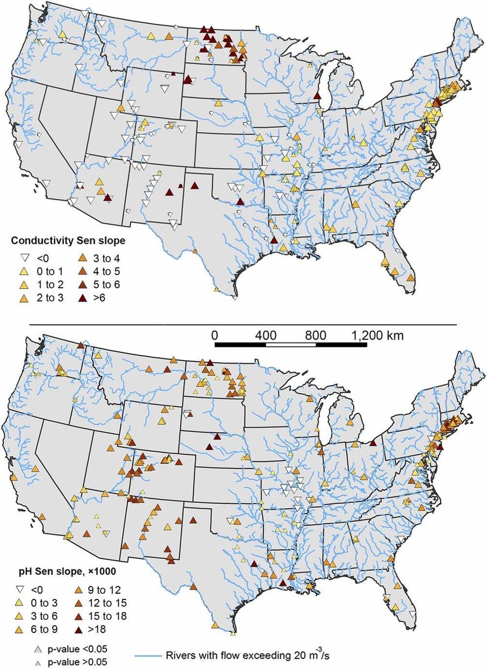 Места роста, снижения и / или отсутствия тенденции к удельной проводимости и рН в пресной воде в континентальной части Соединенных Штатов. Высокая электропроводность указывает на соленость, поскольку соленые растворы полны заряженных частиц, которые проводят электричество